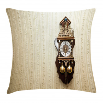 Wood Wall Carving Clock Pillow Cover