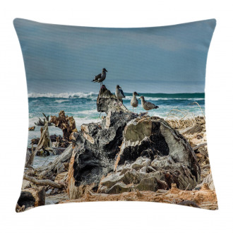 Driftwood Shore Seagull Pillow Cover