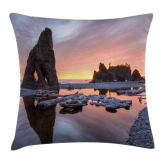 Sunset Sea Stacks Beach Pillow Cover