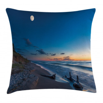 The Moon in the Sky Lake Pillow Cover