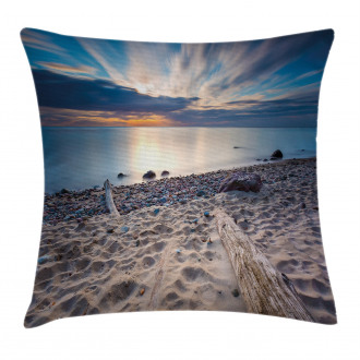 Rocky Sea Shore Trees Pillow Cover