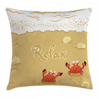Card with Cute Crabs Sea Pillow Cover