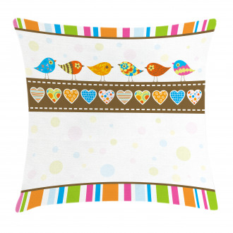 Birds Hearts Stripes Pillow Cover