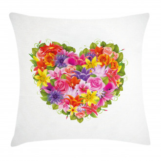Flower Rose Leaf Pillow Cover