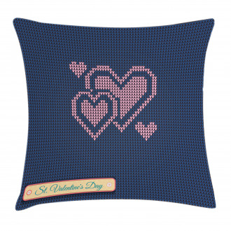 Digital Knit Hearts Pillow Cover