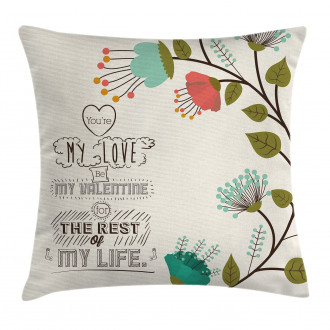 Flower with Leaf Pillow Cover