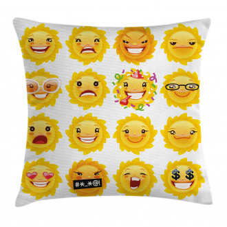 Smile Surprise Angry Mood Pillow Cover