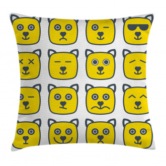 Cat Dog Smiley Expression Pillow Cover