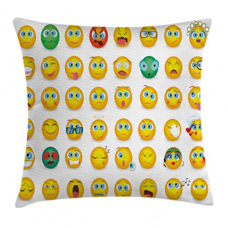 Couple Monster Face Moods Pillow Cover