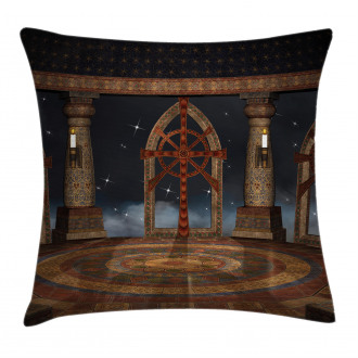Fantasy Temple in Sky Pillow Cover