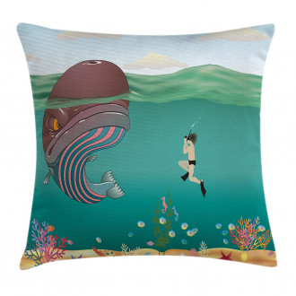 Shells Whale with Scuba Pillow Cover