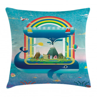 Whale Rainbow Ocean Art Pillow Cover