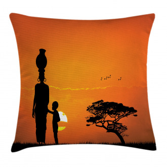 Child and Mother in Desert Pillow Cover