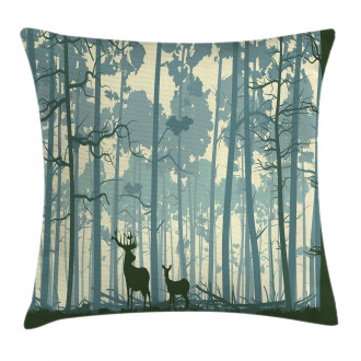 Animals in Foggy Forest Pillow Cover