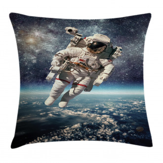 Astronaut Floats Outer Space Pillow Cover