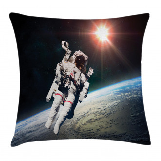 Astronaut with Sun Beams Pillow Cover