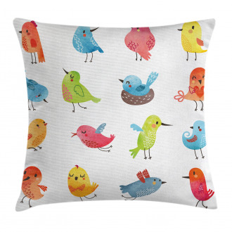 Colorful Cute Humor Bird Pillow Cover