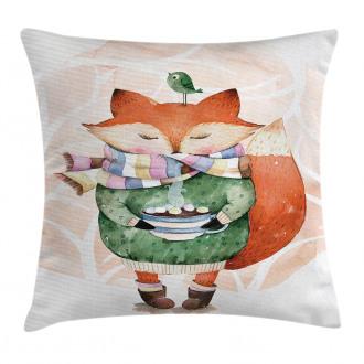 Cute Lİttle Fox and Bird Pillow Cover