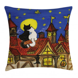 Two Lover Cats with Sky Pillow Cover