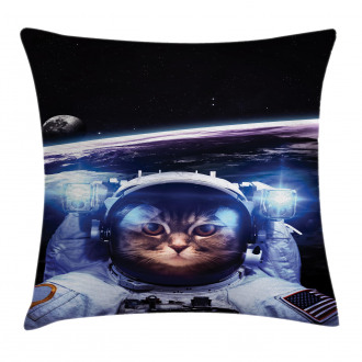 Funny Astronaut Cat Humor Pillow Cover