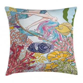 Sketchy Sea Coral Reefs Pillow Cover
