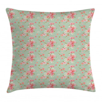 Retro Spring Blossoms Pillow Cover