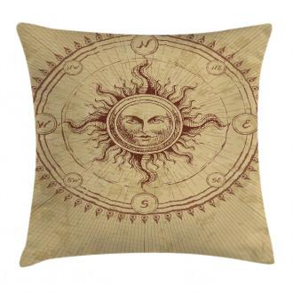 Antique Roman Sun Stone Pillow Cover