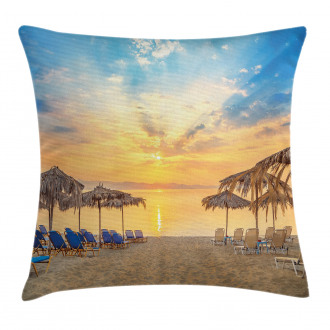 Sandy Beach with Sunrise Pillow Cover