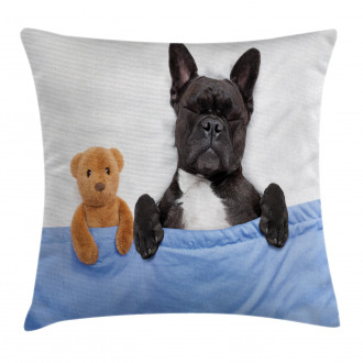 French Bulldog with Bear Pillow Cover
