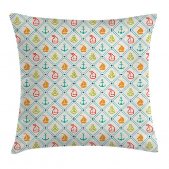 Marine Life Boat Yacht Pillow Cover