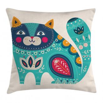 Paisley Style Cat Kitten Pillow Cover