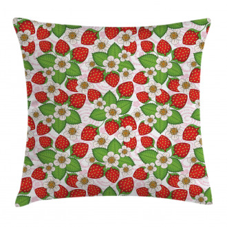 Floral Strawberry Scene Pillow Cover