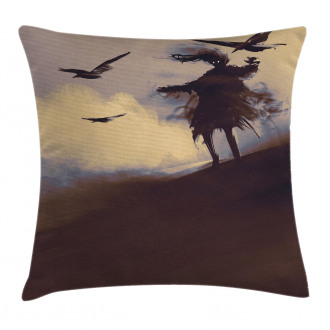 Dark Soul Crows on Hills Pillow Cover