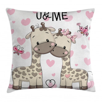 Baby Giraffes and Hearts Pillow Cover