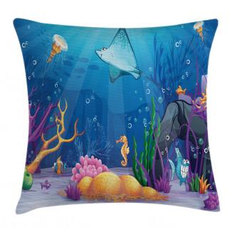 Marine Life Fish Moss Pillow Cover
