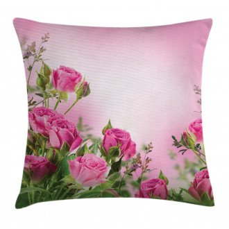 Spring Season Roses Buds Pillow Cover