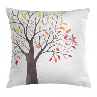 Forest Trees with Leaves Pillow Cover