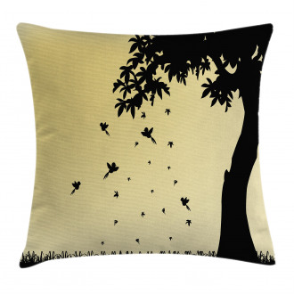 Tree with Falling Leaves Pillow Cover