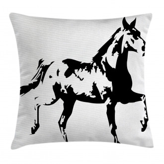 Running Horse Silhouette Pillow Cover