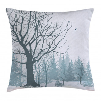 Snowy Forest Trees Birds Pillow Cover