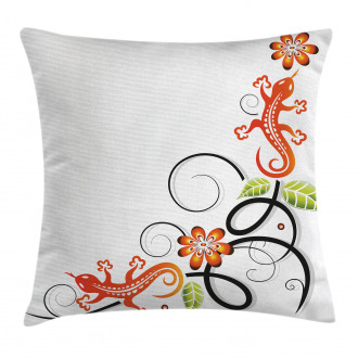 Baby Lizard and Flower Pillow Cover