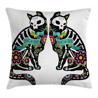 Skeleton Cats Skull Pillow Cover