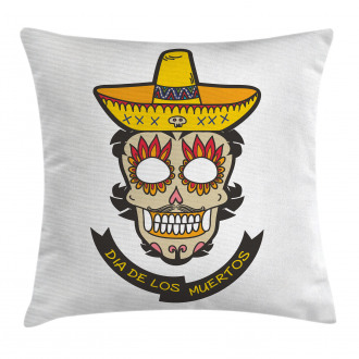 Skull with Sombrero Pillow Cover