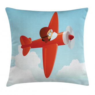 Cute Airplane Flying Cloud Pillow Cover