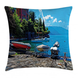 Boats European Sea Town Pillow Cover