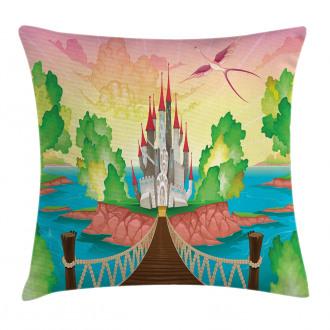 Wooden Bridge and Bird Pillow Cover