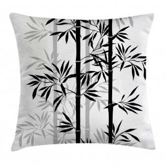 Bamboo Tree Leaves Zen Pillow Cover
