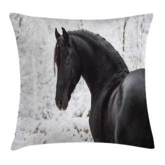 Snowy Winter Scenery Pillow Cover