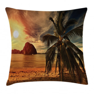 Coconut Palm Tree Beach Pillow Cover
