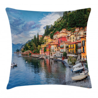Yacht Boat Idyllic Town Pillow Cover